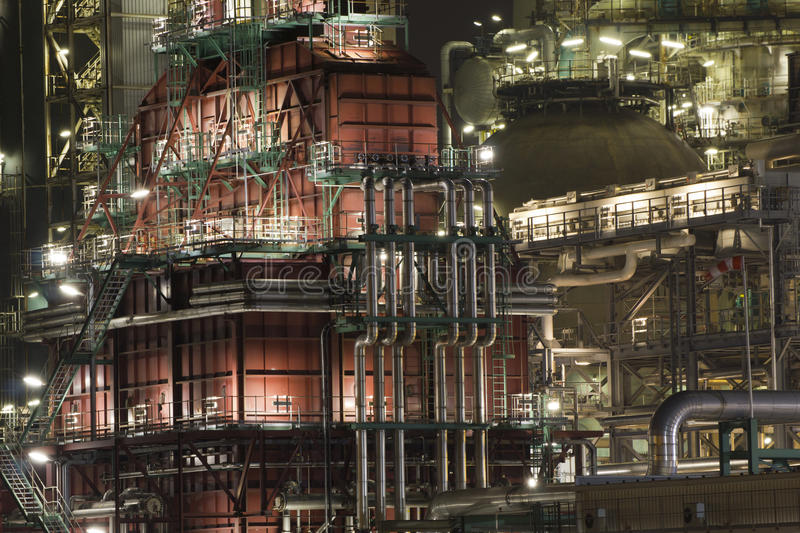 Oil-refinery plant. A large oil-refinery plant at night situated in Rotterdam, The Netherlands royalty free stock image