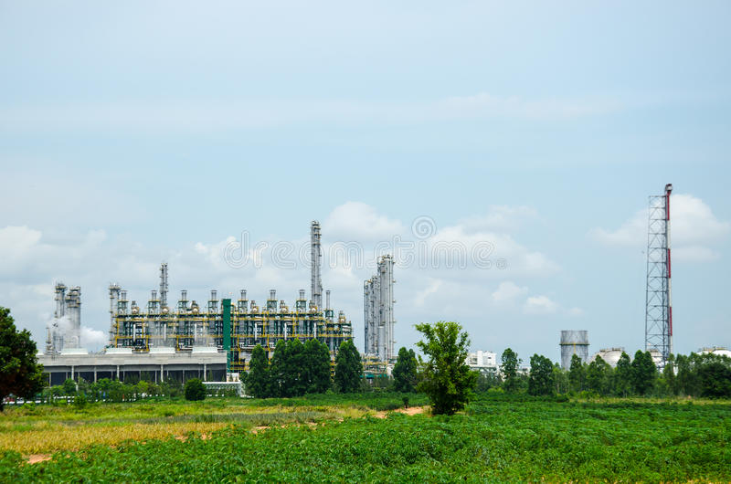 Oil refinery plant. With blue sky stock photos