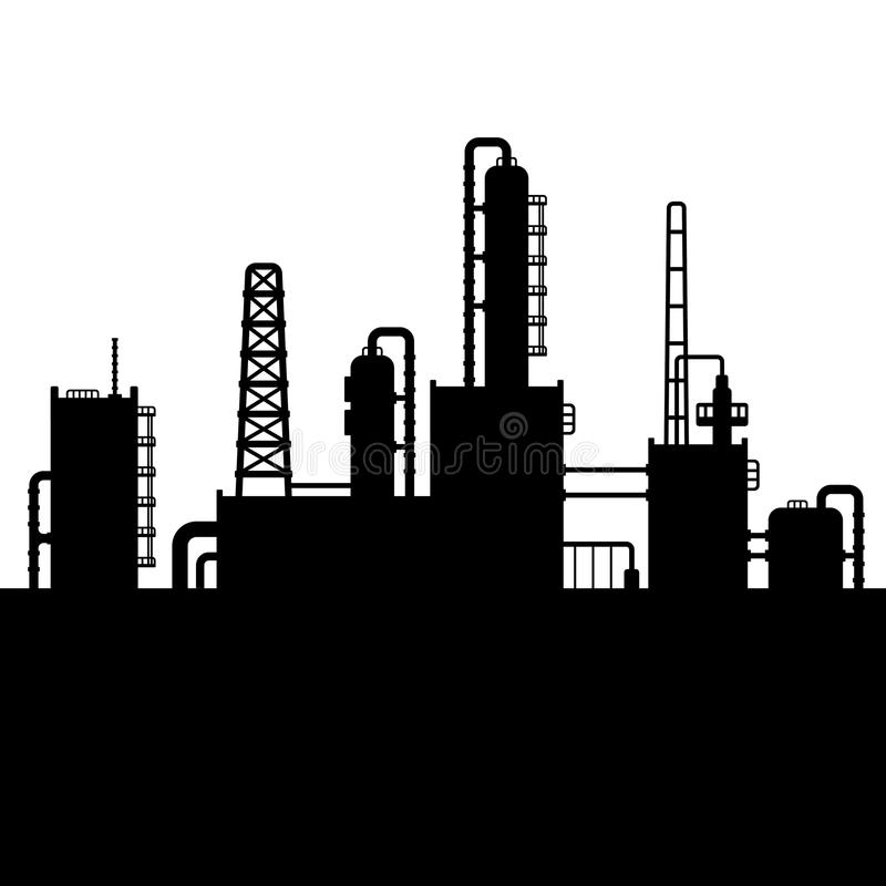 Oil Refinery Plant And Chemical Factory Silhouette Stock