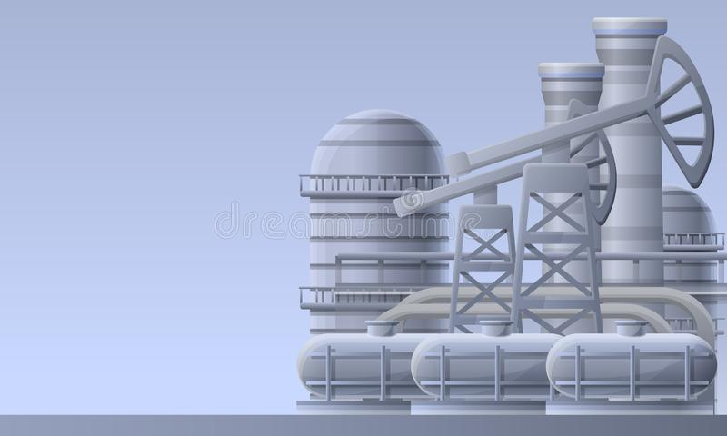 Oil refinery plant concept banner, cartoon style stock illustration