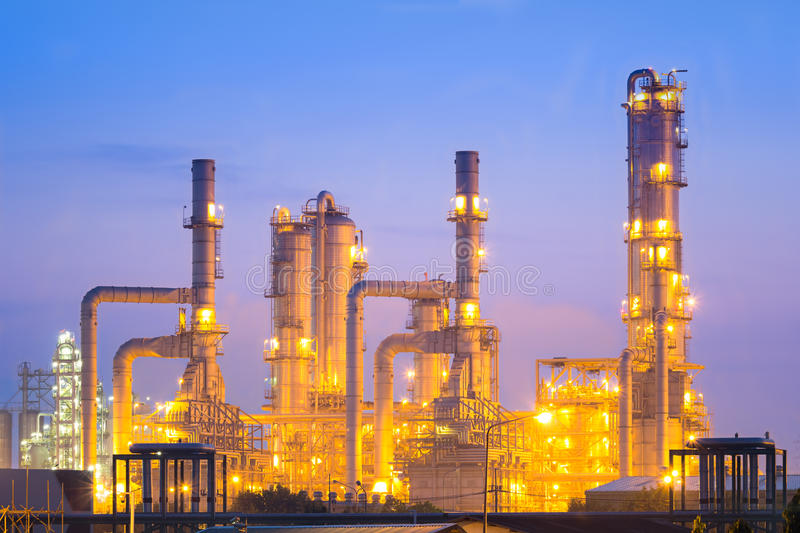 Oil refinery. Plant at dusk royalty free stock photo
