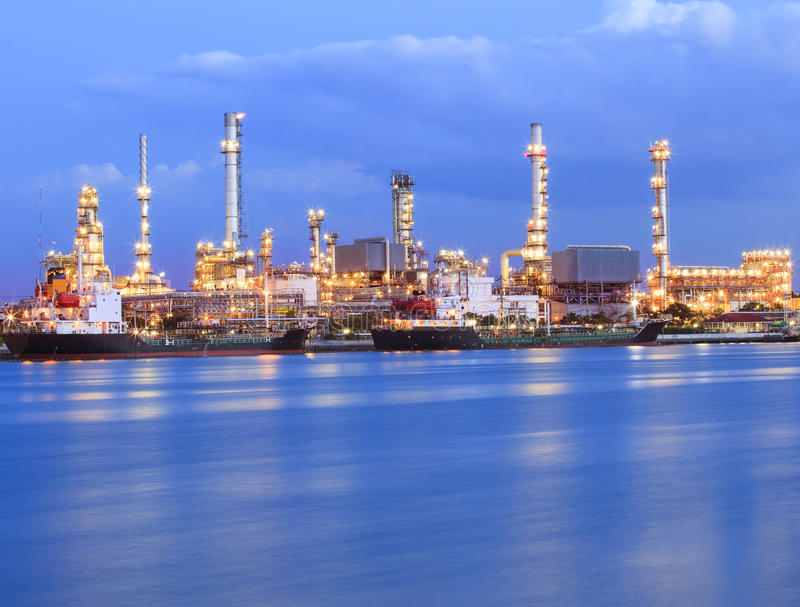 Oil refinery plant in heavy industry estate stock image
