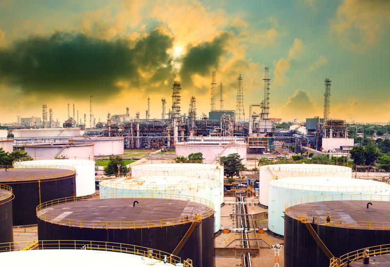 Oil refinery plant in heavy industry estate against beautiful du. Sky sky use for petrochemical industrial and fuel energy business stock images