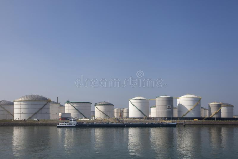 Oil refinery plant from industry zone, Aerial view oil and gas industrial, Refinery factory oil storage tank and pipeline steel royalty free stock photo