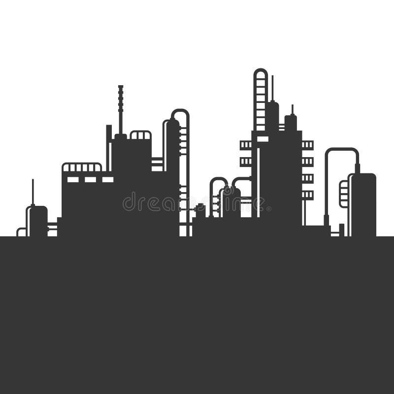Oil Refinery Plant Silhouette. Vector stock illustration