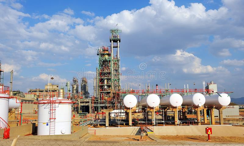 Oil refinery in Puertollano, Ciudad Real province, Spain. Installations of chemical industry for production of petroleum products located in Puertollano royalty free stock photography