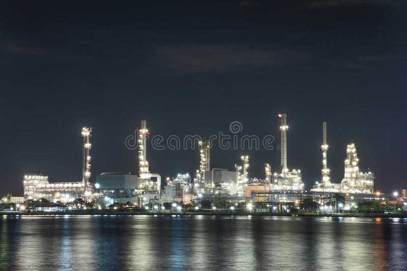 The Oil Refinery Site With The Twilight Royalty Free Stock Photo