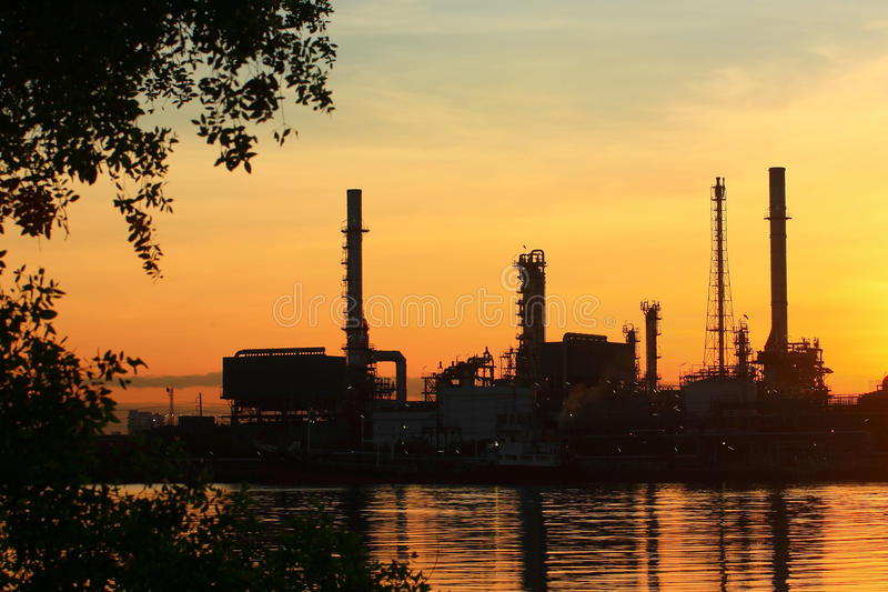 Download Oil Refinery With Sunrise, Thailand Stock Image - Image: 15020301
