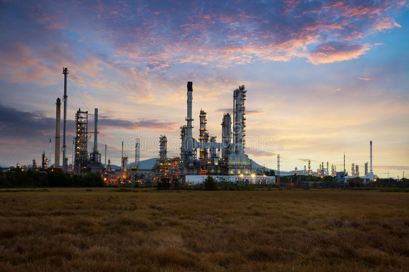 Oil refinery. At sunrise vertical view stock photo