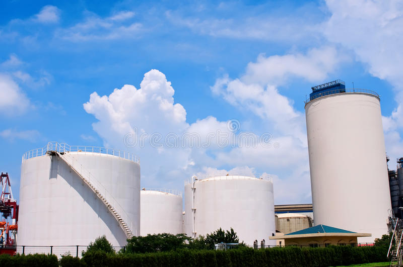 Oil Refinery Tanks. The storage tanks at an oil refinery complex,which taken in Qingdao Port royalty free stock image