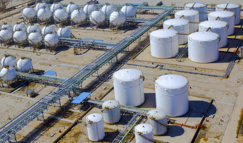 Oil Refinery Tanks. Aerial view of petrol industrial zone royalty free stock photos