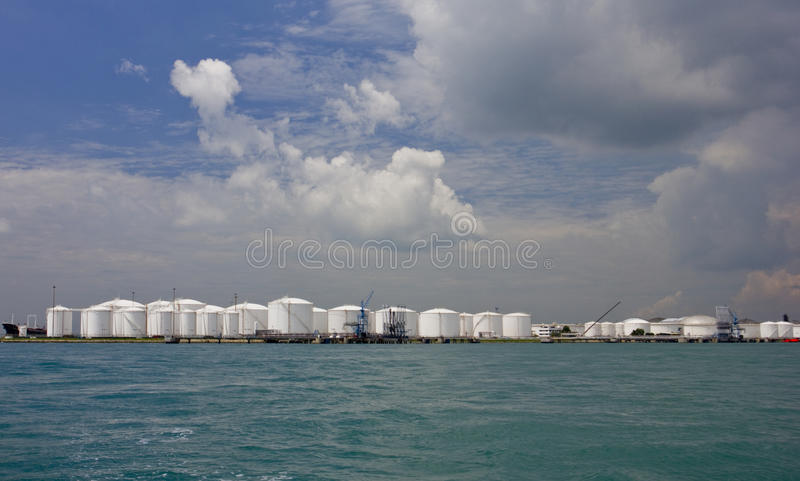 Oil refinery tanks. On a island, Singapore stock images