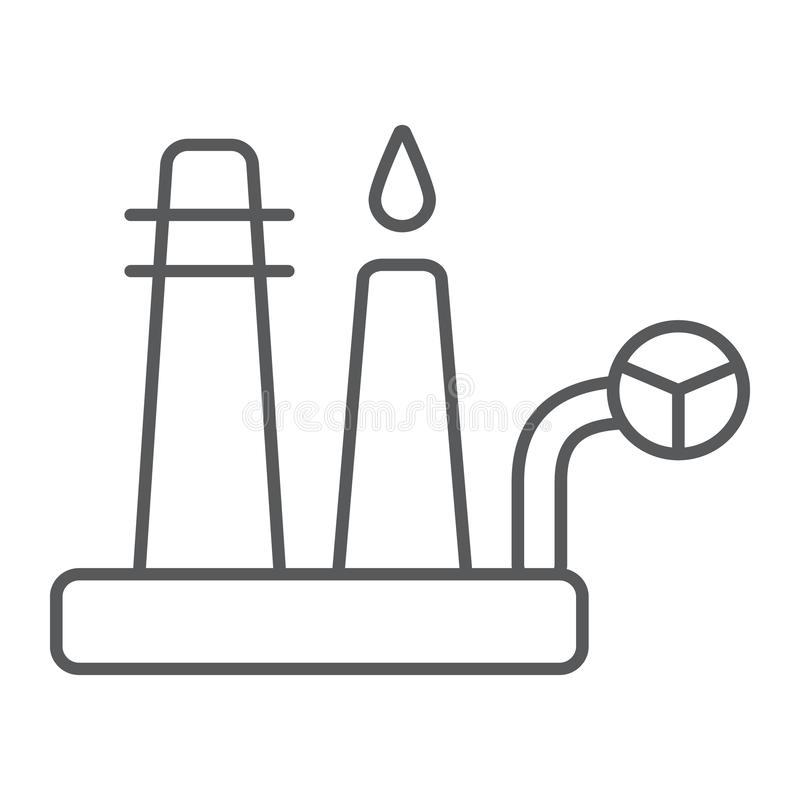 Oil refinery thin line icon, industrial and plant, factory sign, vector graphics, a linear pattern on a white background vector illustration