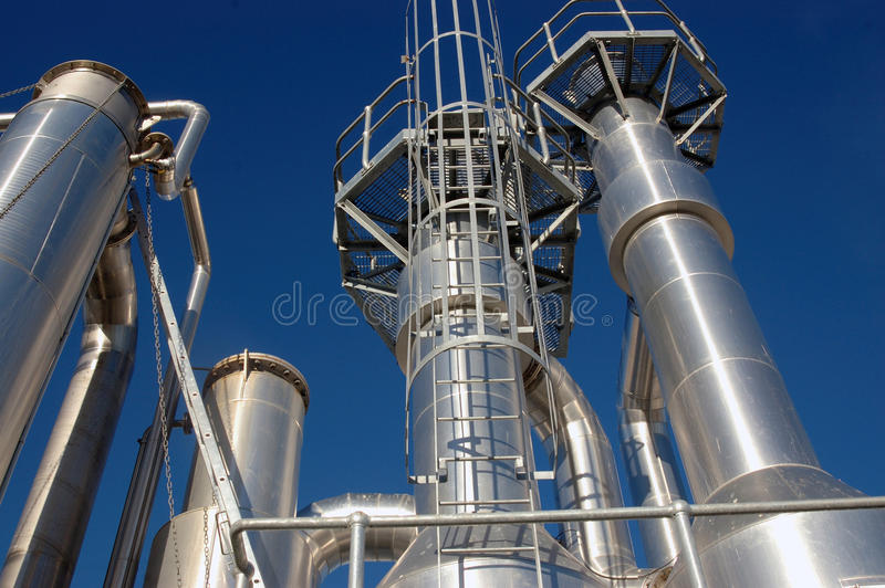 Oil refinery towers. Towers at an oil refinery stock photography