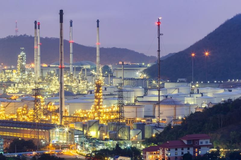 Oil refinery with tube and oil tank along night sky at Si Racha District, Rayong Province stock photography