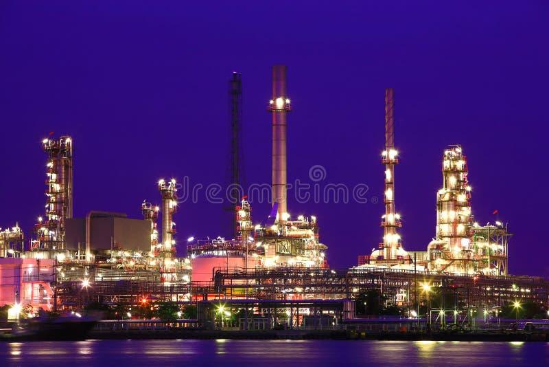 Oil refinery at twilight. Chao Phraya river, Thailand royalty free stock photos