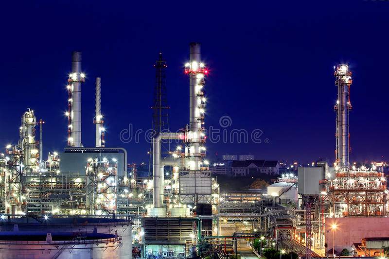 Oil refinery at twilight. The Oil refinery at twilight in Bangkok, Thailand stock image