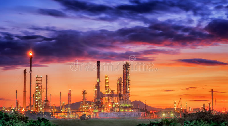 Oil refinery. At twilight sky stock image