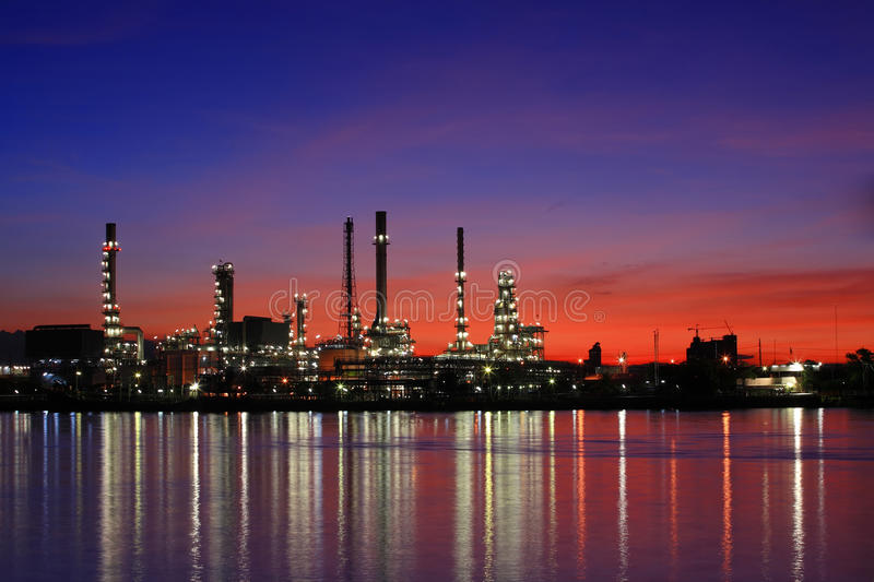Download Oil Refinery At Twilight, Thailand Stock Image - Image of canel, automobiles: 14945955