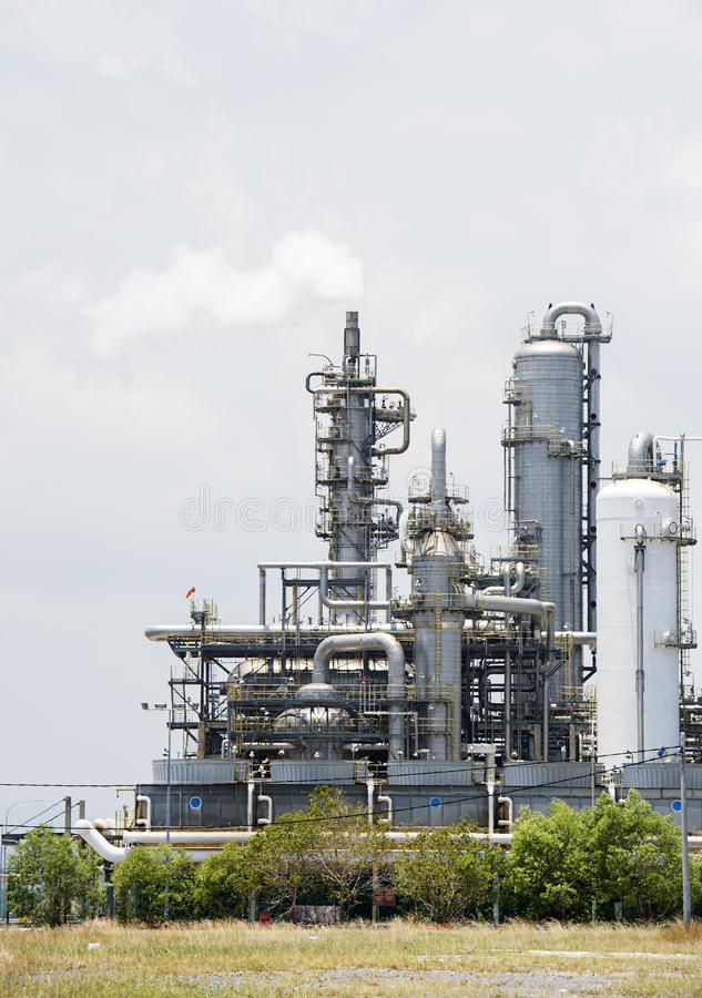 Oil refinery. Vertical image of oil refinery royalty free stock photos