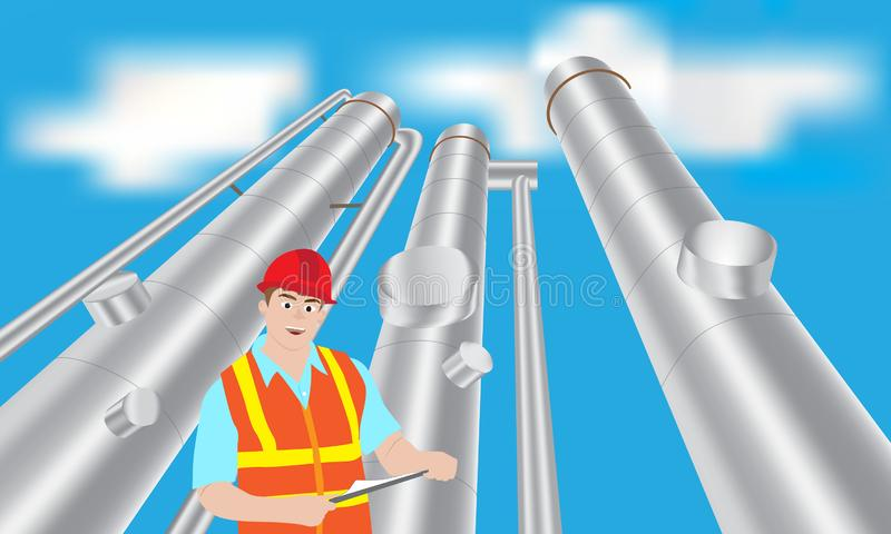 Oil refinery worker site check tower. At refinery plant royalty free illustration