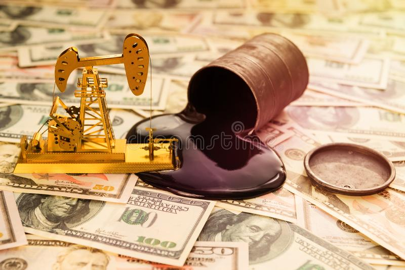 Oil refining, a barrel of oil, US dollars. stock images