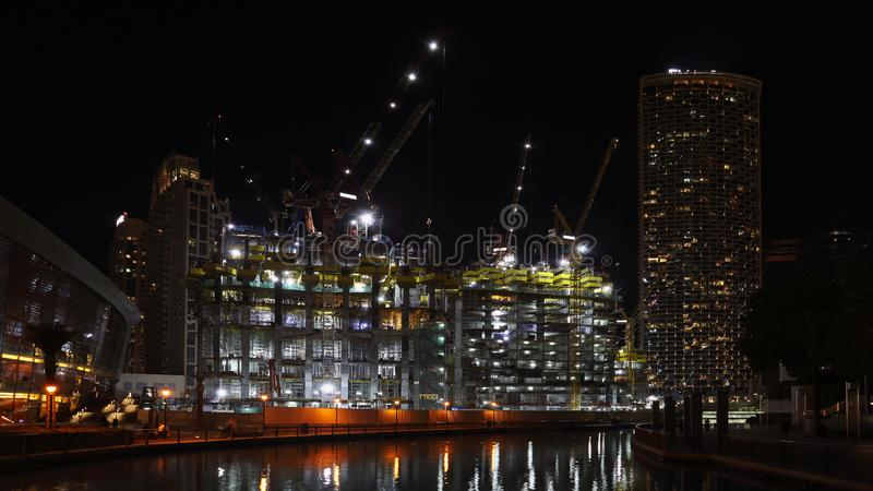 Building skyscrapers in Downtown area, Dubai, United Arab Emirates, UAE. Oil revenues help accelerate development of Dubai and city still attracts world stock photo