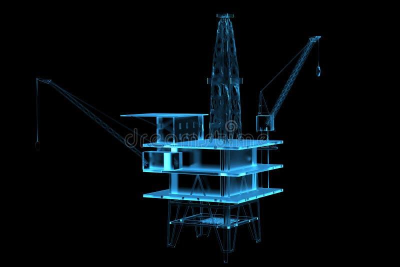 Oil rig (3D xray blue) stock illustration