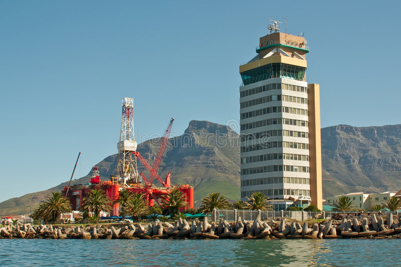 Oil- rig in bay of big city ne stock photo
