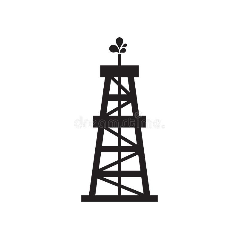 Oil rig - black icon on white background vector illustration for website, mobile application, presentation, infographic. Petroleum royalty free illustration