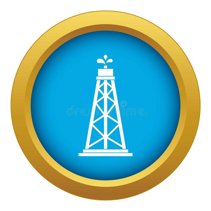 Oil rig icon blue vector isolated royalty free illustration