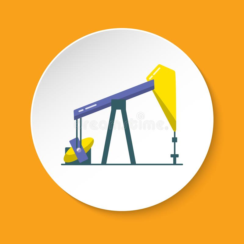 Oil rig icon in flat style on round button. Exploration and oil production symbol isolated on white stock illustration