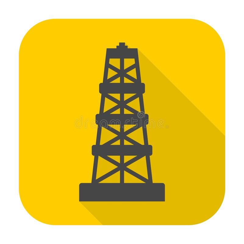 Oil rig icon with long shadow vector illustration