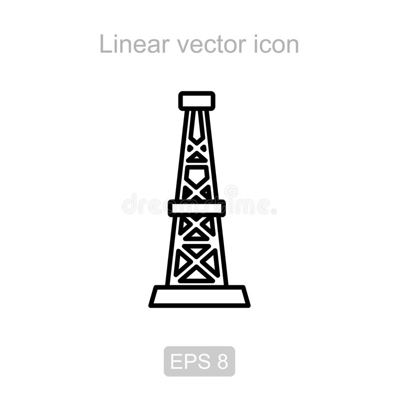 Oil rig. Linear icon. Icon of the oil rig in a linear style royalty free illustration