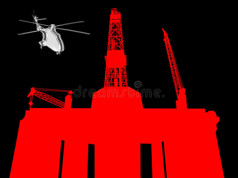 OFFSHORE OIL GAS INDUSTRY DRILLING RIG ENERGY ENVIRONMENT TECHNOLOGY. Helicopter approaching semi-submersible offshore drilling rig-concept image.oilfield oil stock illustration