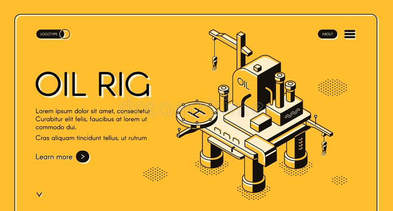 Oil rig offshore platform vector isometric halftone vector illustration