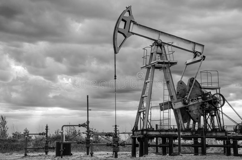Oil rig in the oilfield. royalty free stock photography