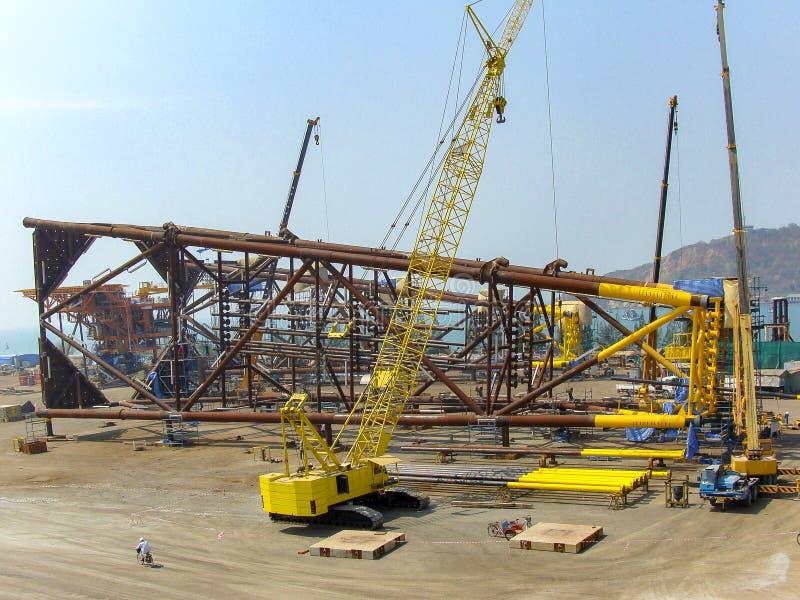 Rig platform during construction stock images