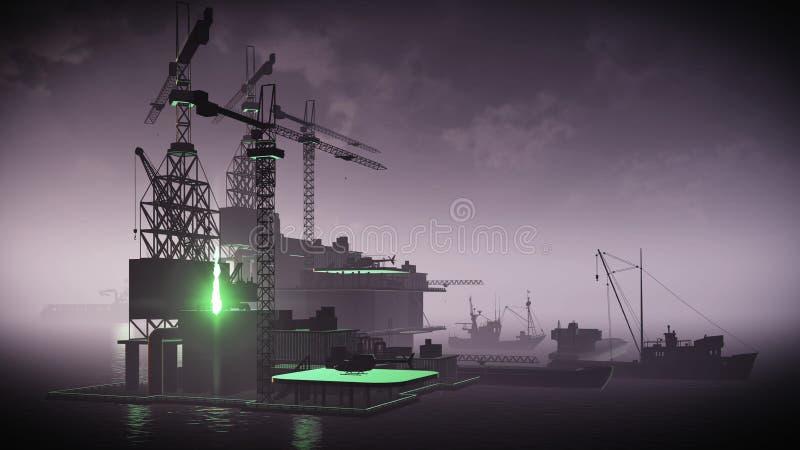Oil rig platform. At night royalty free stock photo
