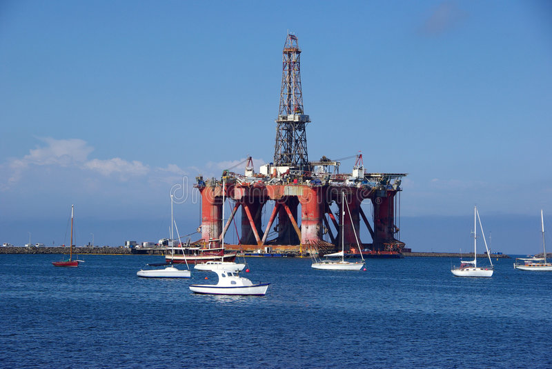 Oil Rig in Port stock photography