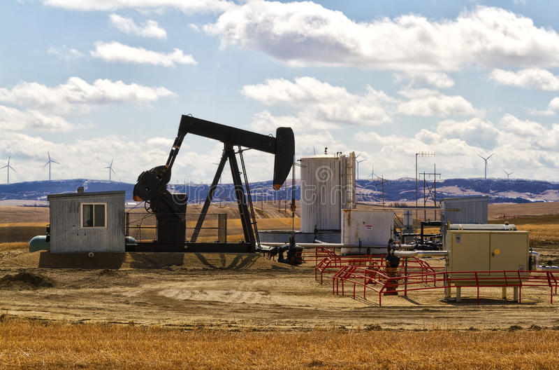 Oil rig. Private oil rig in Alberta Canada stock images