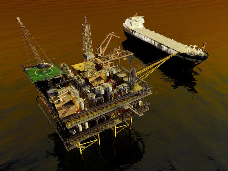 Oil Rig royalty free illustration
