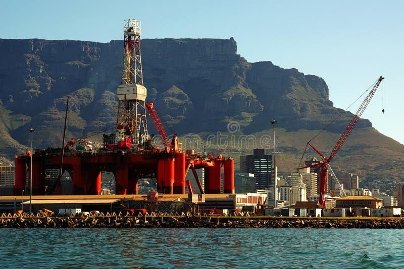 Oil- rig repairs in the ocean harbour royalty free stock images