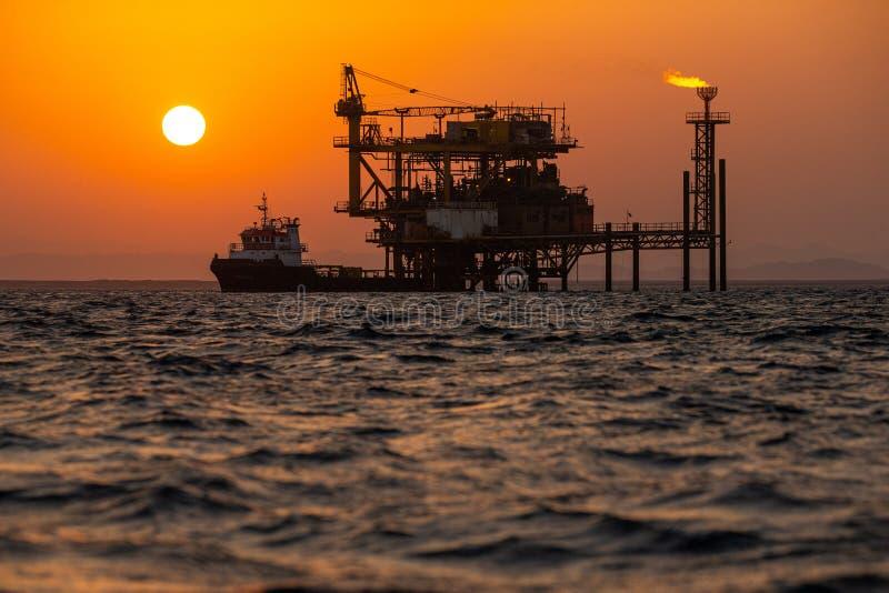 Oil rig at sea royalty free stock image