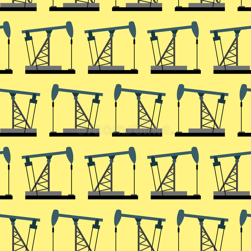 Oil rig seamless pattern. Oil pump pumps oil background. royalty free illustration