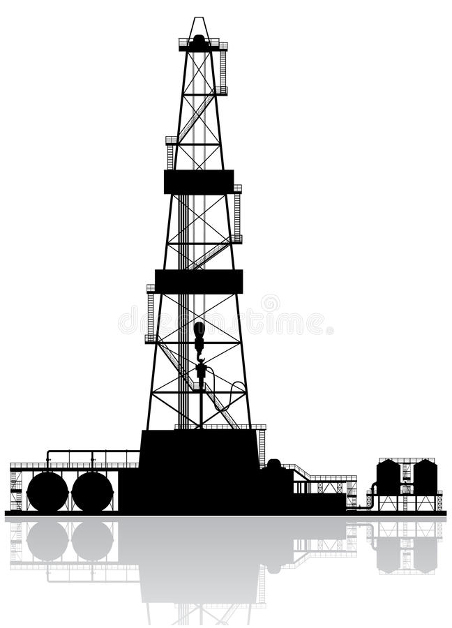 Oil rig silhouette. vector illustration