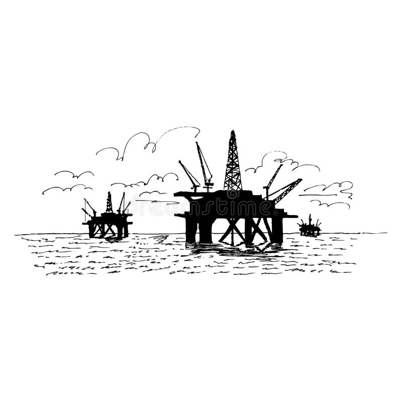 Oil Rig silhouette upon the ocean vector illustration