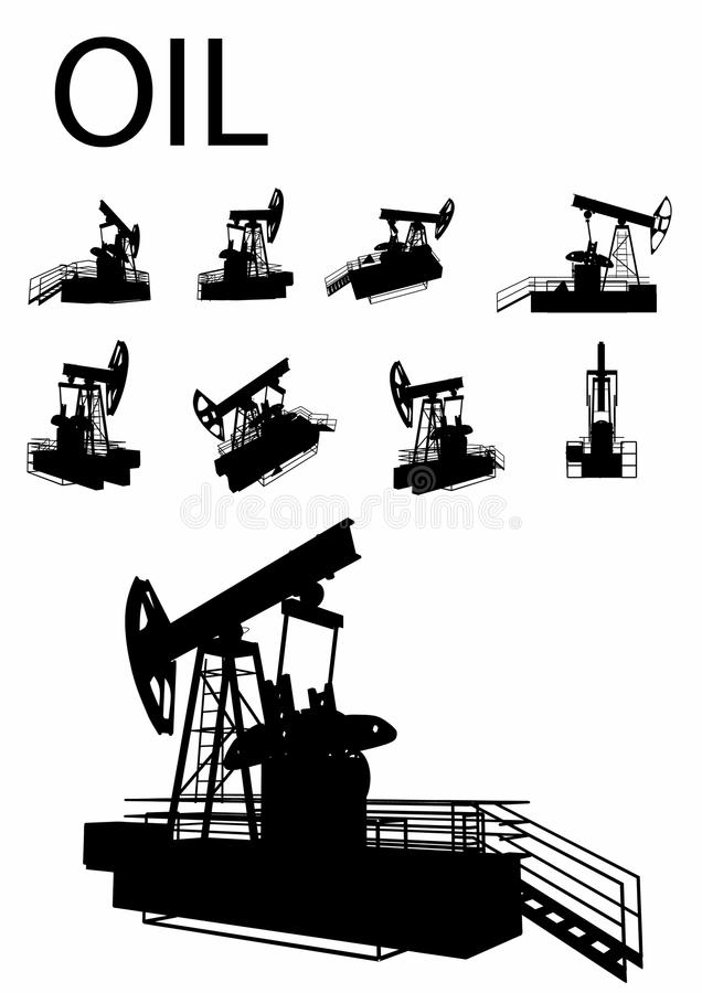 Oil Rig Silhouette Set stock illustration