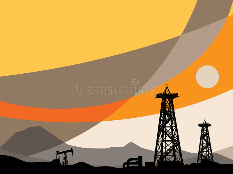 Download Oil rig silhouettes stock vector. Image of pump, business - 19464524