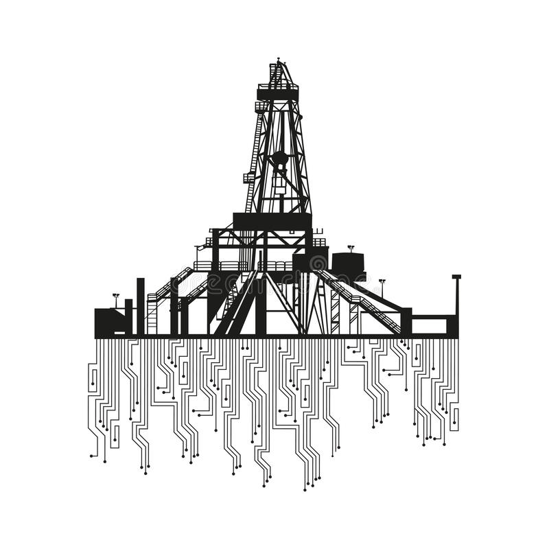 Oil rig silhouettes on white background. royalty free illustration